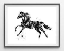 Printable Horse Instant Download black horse digital print wild horse poster instant download horse illustration horse print wall art