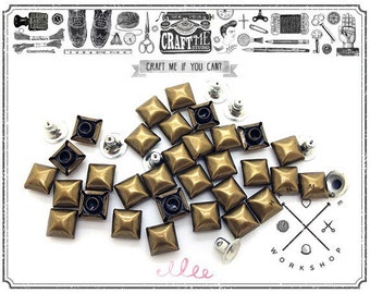 50PCS 10-12MM ANTIQUE Brass SQUARE DOME Pyramid Rivets Studs Nailhead.