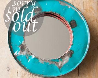 Turquoise Oil Drum Mirror