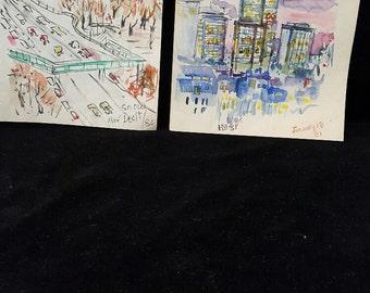 Miye Matsukata's four sketches of Boston and the Charles River