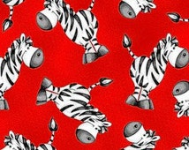 Zebra fabric, ABC 123 , zebras, red background child theme fabric, by Henry Glass