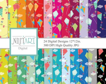 Kite, digital papers, scrapbook papers, background DP 067