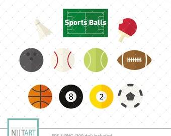 Sports balls clipart , Balls clipart, vector graphics, Sport clipart, digital clip art, digital images -  CL 037