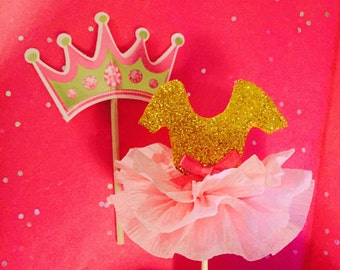 Pink and Gold, Tutu cupcake toppers, Princess crowns, Princess party