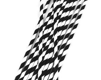 Black & White Stripe Paper Straws