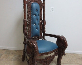 Carved Mahogany Hand Carved Elephant Gothic King Queen Chair