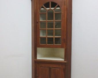 Antique Primitive Early American Corner Cupboard China Hutch Display