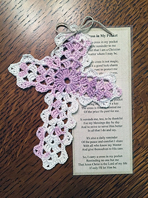 This is a photo of Dynamic Free Printable Crochet Cross Bookmark Patterns