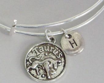 TAURUS Zodiac CHARM W/ Initial Adjustable Expandable Bangle Bracelet Zodaic Charm Bracelet  Gift - Under 20 Pick Your Sign  Usa  Z1
