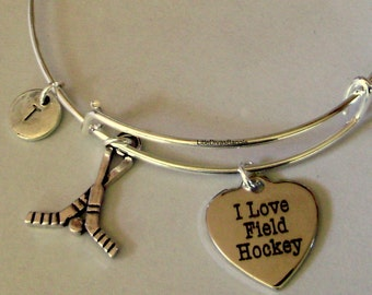 I Love FIELD HOCKEY / Hockey Sticks  Bangle Bracelet Personalize W/ Initial  / Trendy -  Under Twenty  Gift For Her / Usa H1