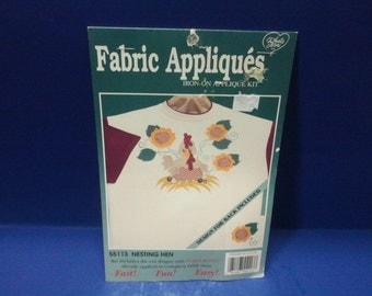 Iron-on Fabric Applique Kit- Nesting Hen Chicken with Sunflowers