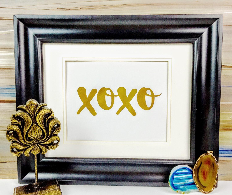 Xoxo Gold Foil Print Gold Art Hugs And Kisses Wall Decor