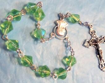Green Bicone Glass Bead Rosary, Finger Rosary, Single Decade Rosary