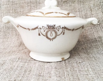 Vintage Cream and Gold Sugar Bowl with lid