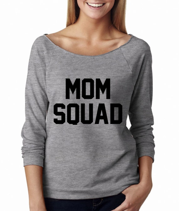 Metallic gold print mom squad wide neck shirt graphic shirt for Bucket squad gold shirt