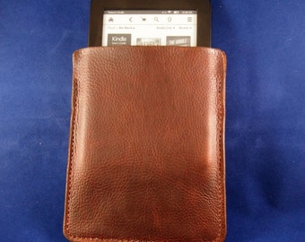 Handcrafted Waxy Leather Kindle Sleeve Pouch