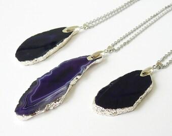Violet Agate Slice Necklace Dark Violet Agate Pendant Gift for Women Gemstone Necklace Large Agate Slice Long Necklace for women necklace