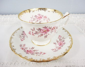 Aynsley Pink and Grey Floral Footed Bone China Teacup and Saucer - Gold Filigree Trim