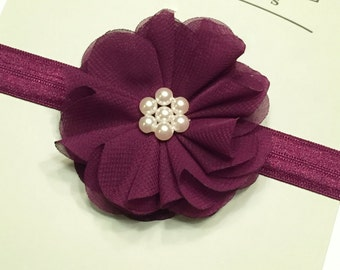 PLUM HEADBAND, Baby Girl Headband, Plum Headband, Newborn Headband, Plum Flower Headband, Baby Girl Bow, Plum Bow, Cheap Headband