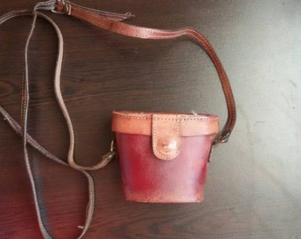 Vintage leather binocular bag, brown leather bag, crossbody bag