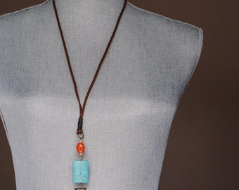 Brown Suede with Turquoise Pendant Necklace