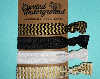 Black & Gold Chevron Hair Ties | Get FREE Domestic SHIPPING
