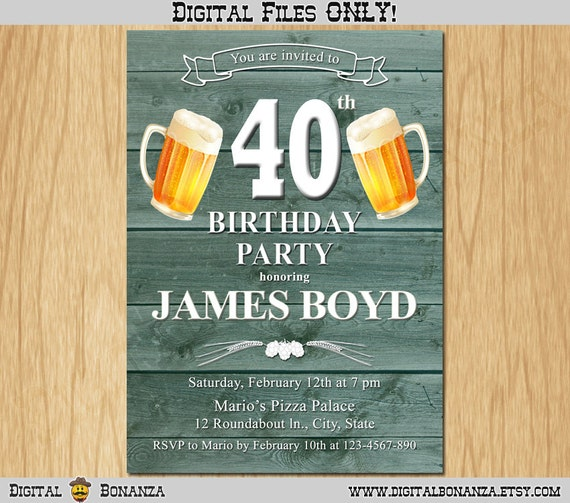 40th Birthday Invitation Cheers Beers Invite Surprise