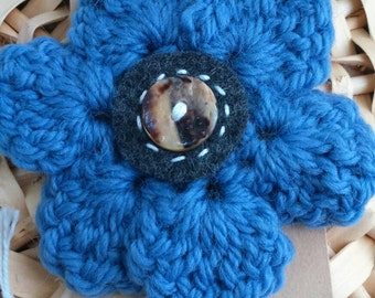Large crochet flower brooch, blue brooch