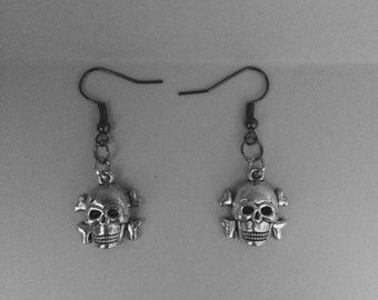 Skull Earrings, Minimalist Earrings, Silver Tone Skulls, Hypo Allergenic.
