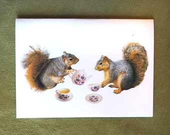 Squirrels Tea Party Printable Card