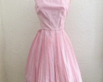 60s Pretty In Pink & Pleated Dress