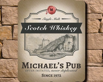 Scotch Whiskey Personalized Bar Sign - Man Cave Decor Ideas, Unique Whiskey Gifts for Men, Black and Tan Wall Decor, Handsome Wedding Gift