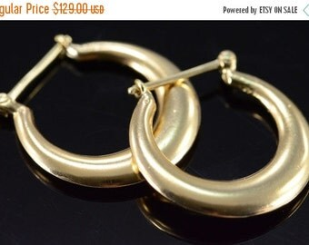 1 Day Sale 14K Hollow Hoop Earrings Yellow Gold