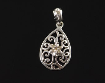 10K Diamond Accented Cluster Scroll Filigree Pendant White Gold