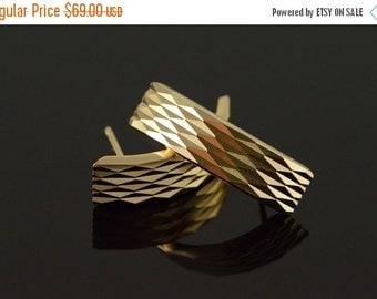 ON SALE 14K J' Hoop Geometric Design Earrings Yellow Gold
