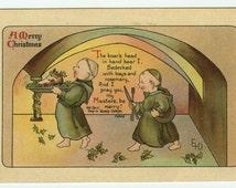 Christmas Greeting Friars Serving Boar's Head Ernest Nister Old Carol Artist Signed c1910 Postcard