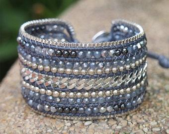 Silver mix Beaded Cuff Bracelet with Chain, Statement bracelet, beadwork bracelet