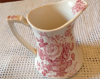 Alfred Meakin Red Transferware Pitcher Staffordshire made in England.