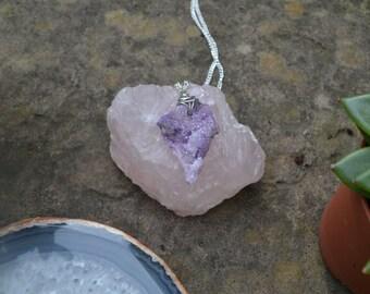 Wire wrapped purple druzy pendant necklace