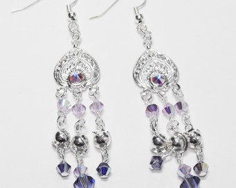 Exotic Journey: Silver Chandelier Earrings with Tanzanite and Violet Swarovski Crystals and Silver Wrapped Beads
