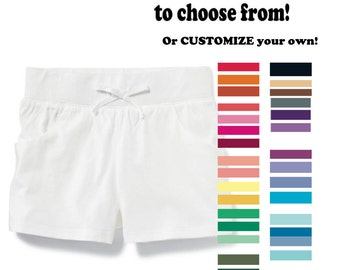 Hand Dyed Solid Color Toddler Girl Jersey Cotton Shorts; Custom Color Toddler Shorts; Plain Color Toddler Girl's Shorts
