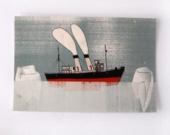 Postcard   BOAT ice-breaker. digital printing   quentinriviere
