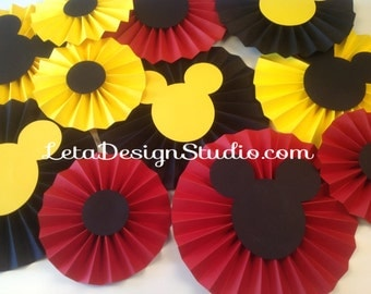 11pc Mickey Mouse rosettes Paper Rosettes Mickey backdrop Mickey photoshoot Baby Shower Decor Mickey Candy Buffet Decorations Birthday Decor
