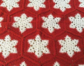 Crotchet Snowflake Blanket/ Snowflake Afghan/Christmas Crochet Blanket/Winter Crochet Blanket/Red Crochet Afghan/Blankets And Throws/