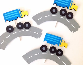 Semi Trucks Cupcake toppers and wrappers - Set of 24.