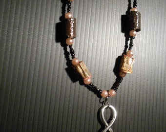 wooden necklace, infinity