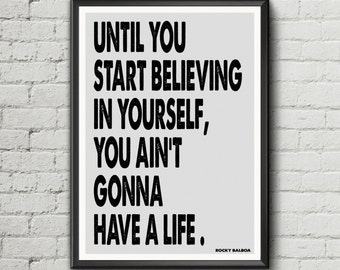 Rocky Balboa quote motivation inspiration poster art print boxing exercise keep fit cross fit digital download