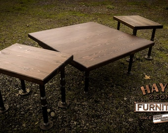 Industrial Coffee Table & 2 Side Tables