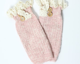 Womens Lace Cable Knit Button Boot Cuffs Womens Boot Toppers