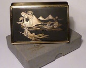 Musical boxes 1950s Musical boxes 1950s Clover unused musical powder box NOS ARABIAN NIGHTS powder compacts  compact mirrors  wedding gifts